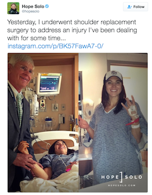 Hope Solo shoulder replacement surgery